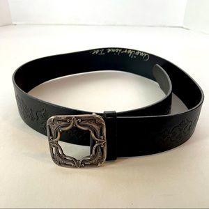 Black leather Belt women's or men's